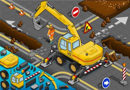 hydraulic platform: Ilustraci�n detallada de una excavadora amarilla isom�trica con cuatro brazos en Vista posterior