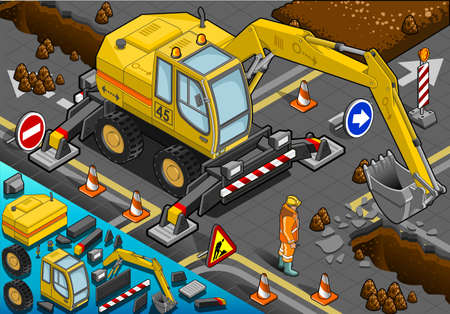 digging: Detailed illustration of a Isometric Yellow Excavator with Four Arms in Front View Illustration