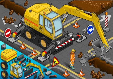 hydraulic platform: Ilustraci�n detallada de una excavadora amarilla isom�trica con cuatro brazos en la vista frontal Vectores