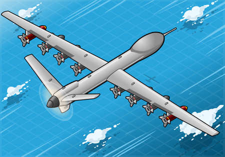 Detailed illustration of a Isometric Drone Airplane flying with Bombs in Rear View Vector