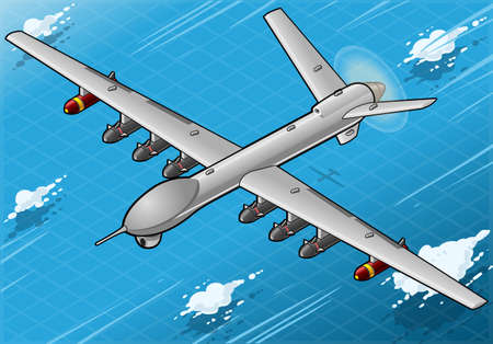 Detailed illustration of a Isometric Drone Airplane flying with Bombs in Front View Vector
