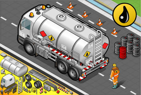 Detailed illustration of a Isometric Liquid Tanker Truck in Rear View Vector
