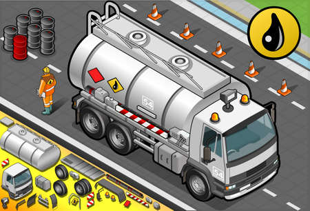 combustible: Detailed illustration of a Isometric Liquid Tanker Truck in Front View