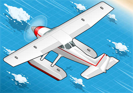 detailed illustration of a Isometric Flying Seaplane in Rear View Vector