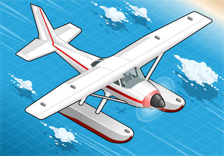 detailed illustration of a Isometric Flying Seaplane in Front View Vector