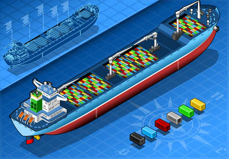 water carrier:  Isometric Cargo Ship with Containers Isolated in Rear View