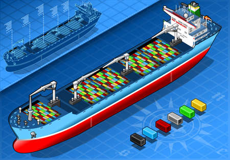sea freight:  Isometric Cargo Ship with Containers Isolated in Front View Illustration