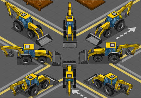 Detailed illustration of a Isometric and Orthogonal Yellow Backhoe in Eight Positions Vector