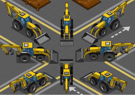 hydraulic platform: Ilustraci�n detallada de una isom�trica y ortogonal retroexcavadora amarilla en ocho posiciones Vectores