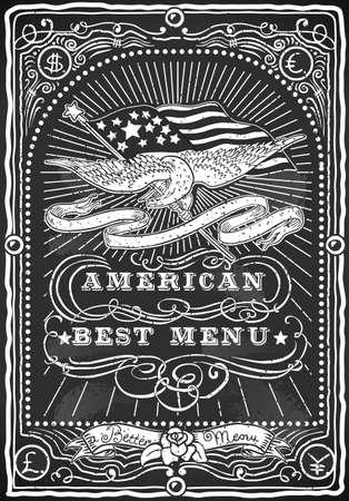 eagle flag: Detailed illustration of a Vintage Graphic Blackboard for American Menu for Bar or Restaurant