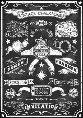 Gedetailleerde illustratie van een Hand Getrokken Blackboard Banner Vector Illustratie
