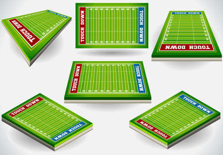 Detailed illustration of a Set of Football Fields in Six Positions Vector