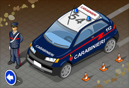 Detailed illustration of a Isometric Italian Carabinieri Police Car and Standing Carabiniere Illustration