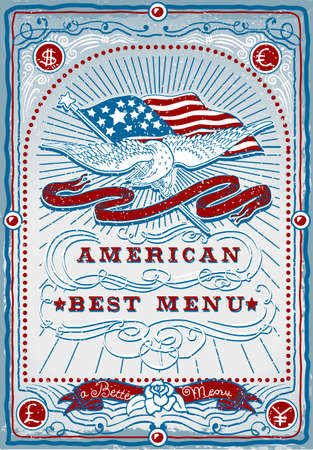 western food: Detailed illustration of a vintage graphic Page for American Menu