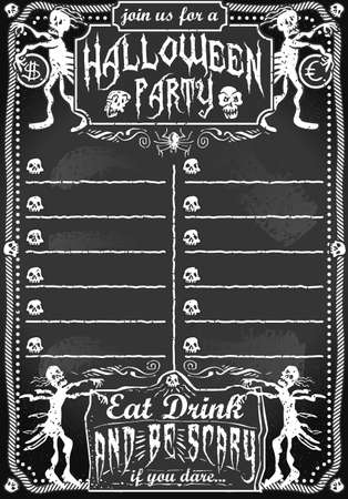 Detailed illustration of a Vintage Blackboard for Halloween Party for Bar or Restaurant Vector