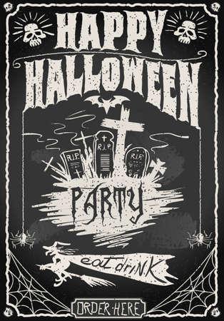 halloween skeleton: Detailed illustration of a Vintage Blackboard for Halloween Party for Bar or Restaurant