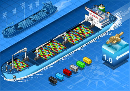 water carrier: detailed illustration of a Isometric Cargo Ship in Navigation with Containers Isolated in  Front View Illustration