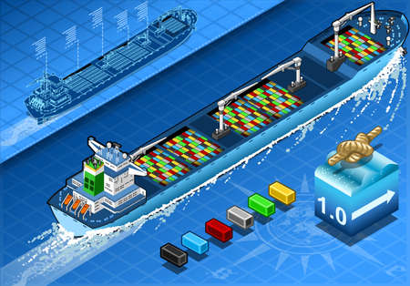 lifeboat: detailed illustration of a Isometric Cargo Ship in Navigation with Containers Isolated in  Rear View