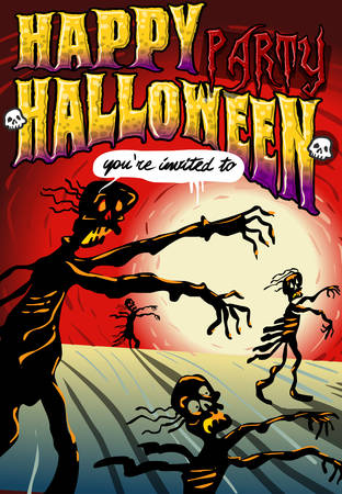 Detailed illustration of a Poster Invite for Halloween Party with ZombiesIllustration in EPS10 with color space in RGB  Vector