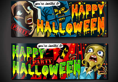 Detailed illustration of a Banner Invite for Halloween Party with Zombie and Screaming WomanIllustration in EPS10 with color space in RGB  Çizim