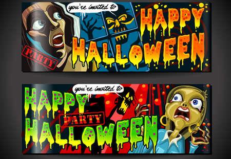 Gedetailleerde illustratie van een banner Nodig voor Halloween Party met Zombie en Screaming WomanIllustration in EPS10 met kleurenruimte in RGB
