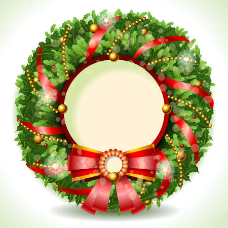 weihnachten gold: Detaillierte Darstellung einer Weihnachtskranz mit rotem Band mit Copyspace Illustration