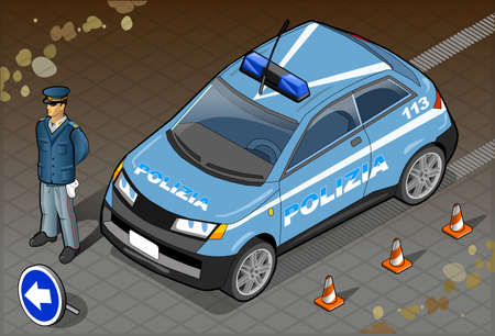 Detailed illustration of a Isometric Italian Police Car and Standing Policeman Vector