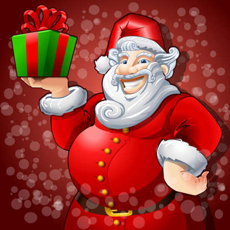 red gift box: Detailed illustration of a Cheerful Santa Claus with Green Box Gift Illustration