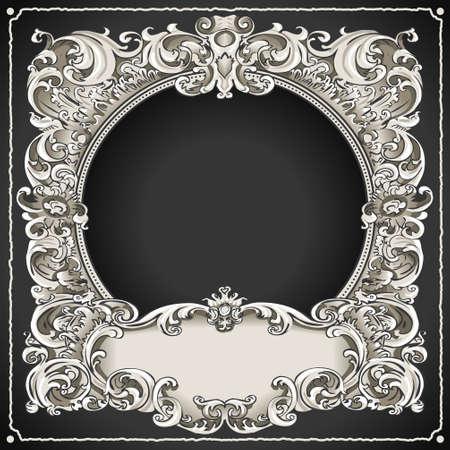Gedetailleerde illustratie van een Vintage Floral Frame