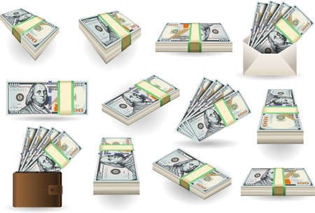 fake money: Detailed illustration of a Set of One Hundred Dollars Banknotes in various positions