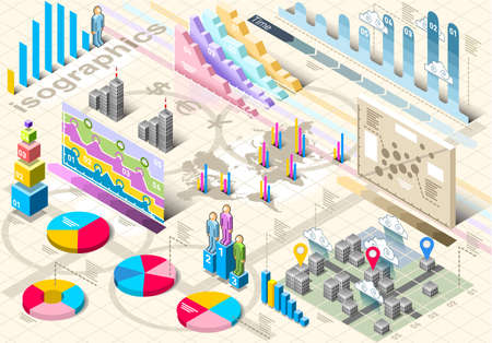 Detailed illustration of a Isometric Infographic Set Elements in Various Colors Vector