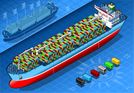 lifeboat: detailed illustration of a Isometric Cargo Ship with Containers Isolated in Front View Illustration
