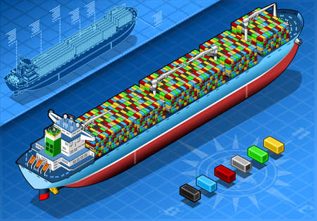 water carrier: detailed illustration of a Isometric Cargo Ship with Containers Isolated in Rear View