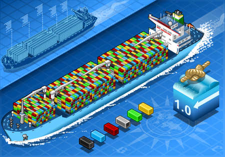 water carrier: Isometric Cargo Ship with Containers in Navigation in Front View