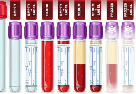 Detailed illustration of a Lavender Cap Tube with Eight Possible Uses, empty, blood, serum or plasma, frozen  Vector