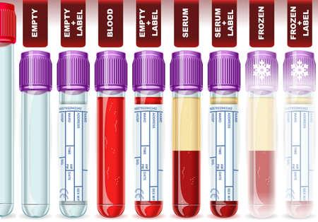 piastrine: Illustrazione dettagliata di un tubo Cap Lavanda con otto possibili usi, vuoto, sangue, siero o plasma, congelati