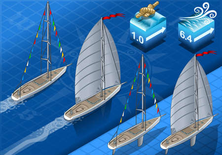 Detailed illustration of a isometric sailships in navigation and regatta Illustration
