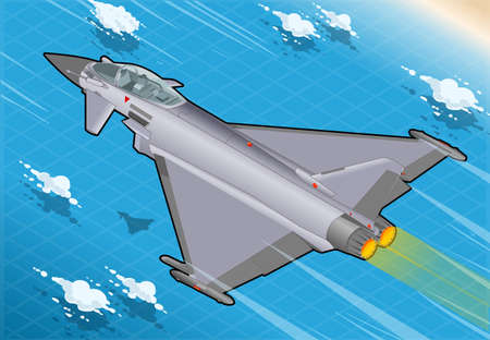 Detailed illustration of a Isometric Eurofighter in Flight in Rear View Vector