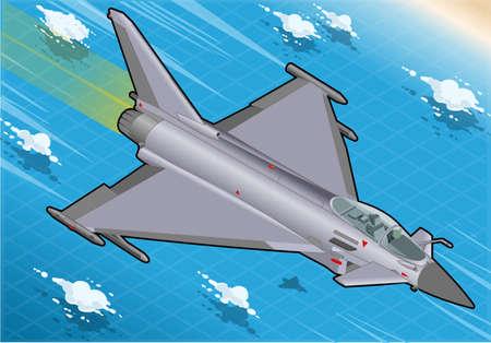 coast guard: Ilustraci�n detallada de un Eurofighter isom�trica en vuelo en la vista frontal