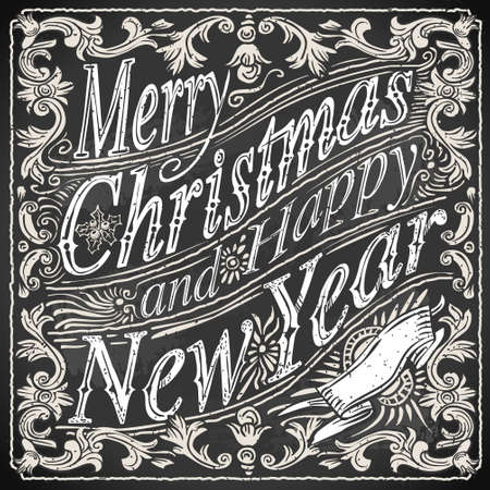 Detailed illustration of a Vintage Merry Christmas and Happy New Year Text on a Blackboard  Illustration