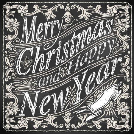 Ilustración detallada de un Vintage Merry Christmas and Happy New Year Text en una pizarra Foto de archivo - 22972264