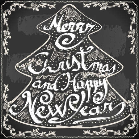 Detailed illustration of a Vintage Merry Christmas and Happy New Year Text in a Christmas Tree on a Blackboard Stock Vector - 22972266
