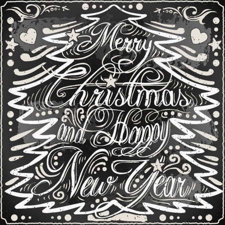 Detailed illustration of a Vintage Merry Christmas and Happy New Year Text in a Christmas Tree on a Blackboard  Vector