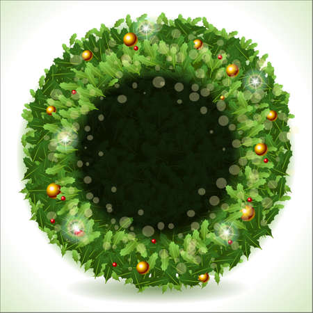 placeholder: Detailed illustration of a Wreath Christmas with Black Placeholder