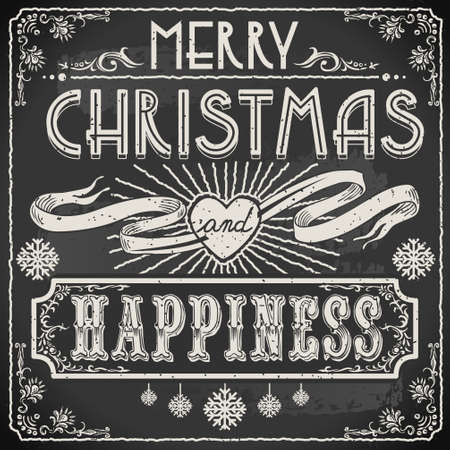 Detailed illustration of a Vintage Merry Christmas Text on a Blackboard Vector
