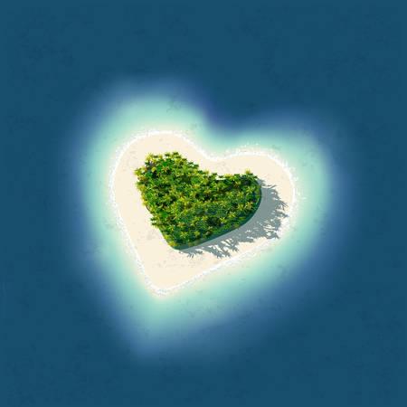 Szczegółowe ilustracji Heart Shaped Tropical Island na romantyczne wakacje lub walentynki