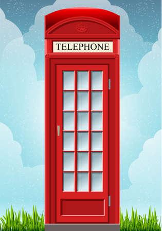 Gedetailleerde animatie van een Engels rode telefooncel op het gras Stock Illustratie