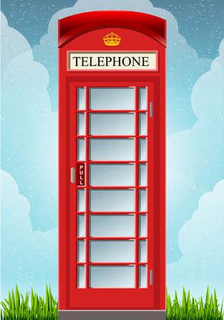 cabina telefonica: Animación detallada de un Inglés de teléfonos roja Cabina