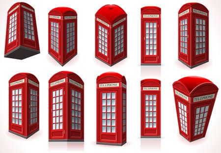 cabina telefono: Ilustración detallada de un conjunto completo de Inglés de teléfonos roja Cabina Vectores