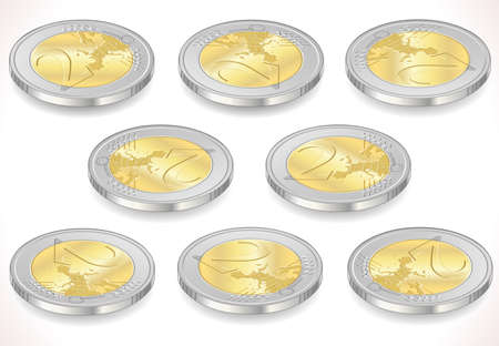 euro coin: Detailed animation of a full Set of Two Euro Coins Isolated on White